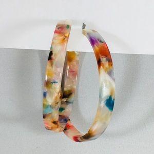 Multicolor Acetate Hoop Earrings Trendy